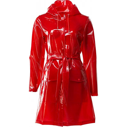 RAINS Belt Jacket Transparent red