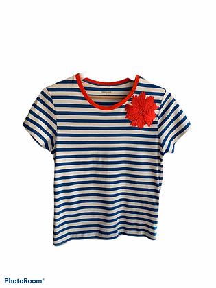 DEDIKATE - T-shirt Indigo fleur rouge