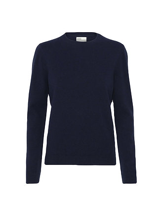COLORFUL STANDARD -  Pull col rond bleu marine
