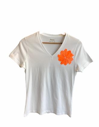 DEDIKATE - T-shirt V Fleur Orange