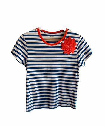 DEDIKATE - T-shirt Bleu Fleur Rouge