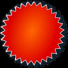 תמונה של תג עם שפיצים בצבע כתום אדום