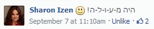 תמונה של תגובה מתוך פייסבוק של שרון איזן שכותבת היה מעולה