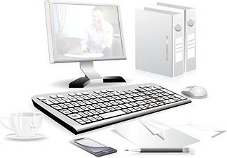 תמונה של מסך מחשב עם תמונה של אריאל חצי שקופה יחד עם מקלדת קלסרים טלפון עכבר ספל תה עט ונייר