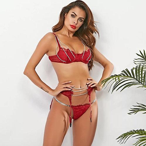 Luxury Glam Lingerie Set - Red