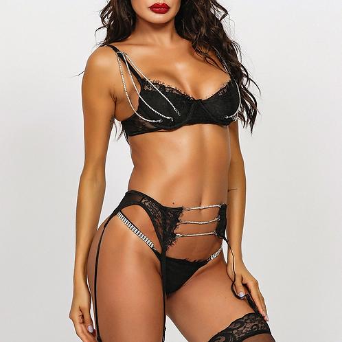 Luxury Glam Lingerie Set - Black
