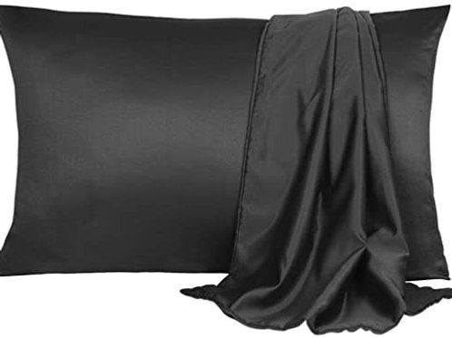 Black Silky Satin Pillow Case