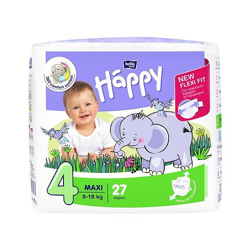 Pannolini Happy BellaBaby – 4 Maxi 8/18kg – 27 pezzi