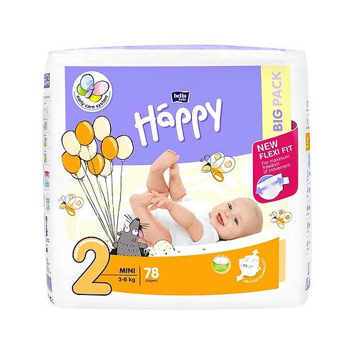 Pannolini Happy BellaBaby – 2 Mini 3/6kg – 78 pezzi