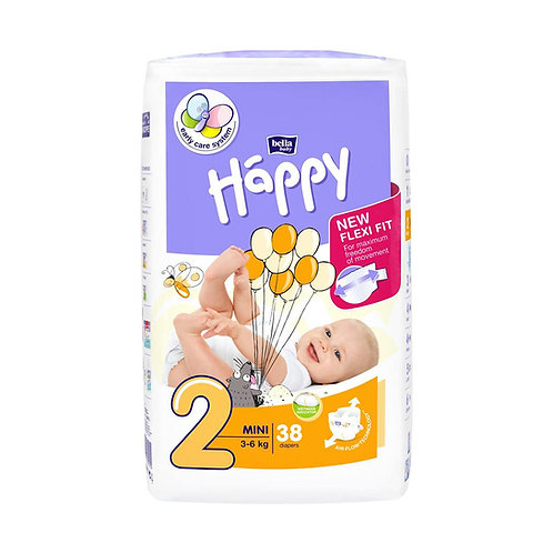 Pannolini Happy BellaBaby – 2 Mini 3/6kg – 38 pezzi