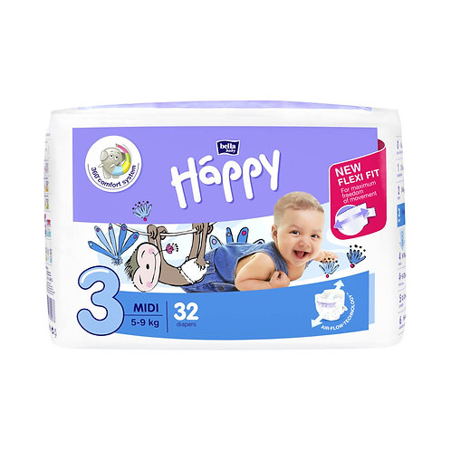 Pannolini Happy BellaBaby – 3 Midi 5/9kg – 32 pezzi