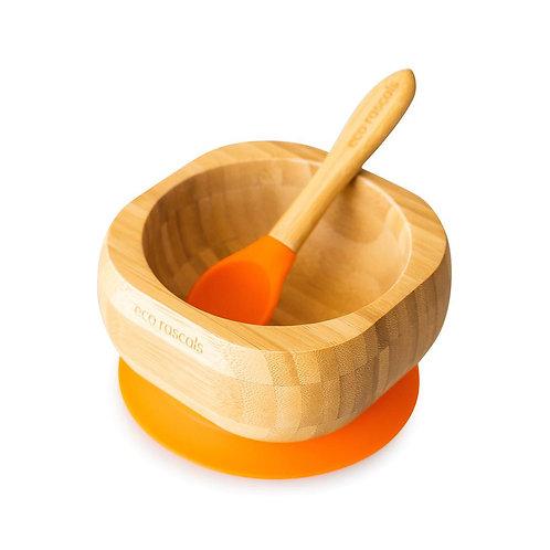 Eco Rascals Ciotola con Ventosa + Cucchiaio - Arancio