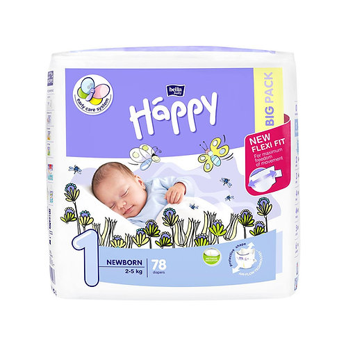 Pannolini Happy BellaBaby – 1 Newborn 2/5kg  – 78 pezzi