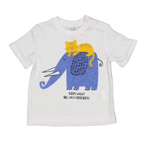 Birba T-Shirt Bianca - Elefante Tigre