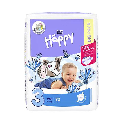 Pannolini Happy BellaBaby – 3 Midi 5/9kg – 72 pezzi