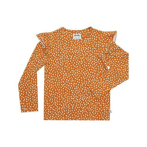 CarlijnQ T-Shirt Manica Lunga Arancio - Texture