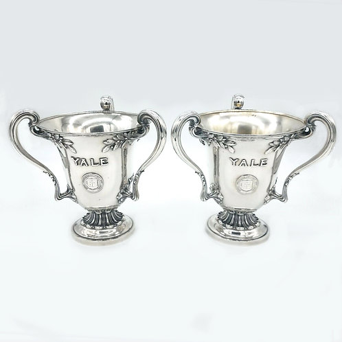 PAIR OF DOMINICK & HAFF STERLING SILVER YALE PRESENTATION THREE HANDLED LOVING C