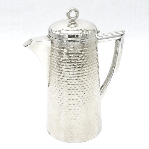 IMPRESSIVE LARGE GERMAN SILVER HAND HAMMERED LIDDED COCKTAIL JUG HESSENBERG