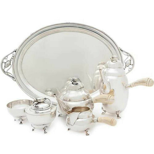 AMERICAN STERLING SILVER SIX-PIECE GEORG JENSEN TEA AND COFFEE SERVICE
