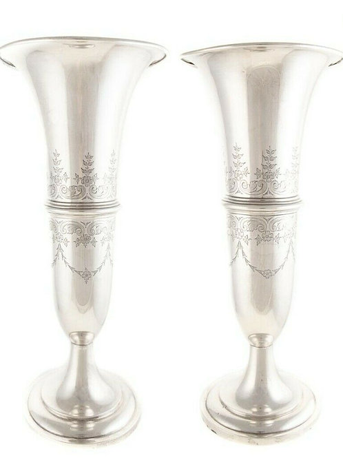 PAIR OF DOMINICK & HAFF STERLING SILVER TALL TRUMPET VASES