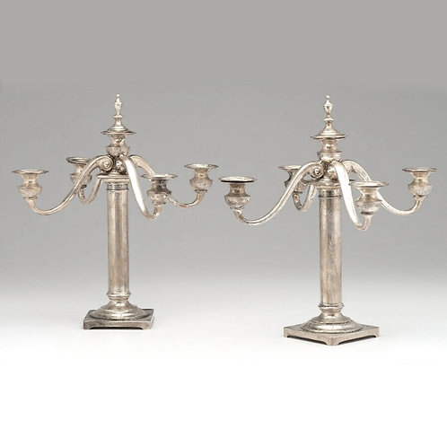 PAIR OF BAILEY BANKS & BIDDLE STERLING SILVER FIVE LIGHT CANDELABRA