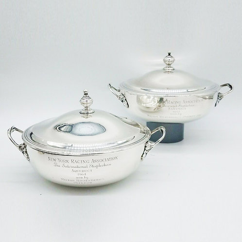 PAIR OF ENSKO STERLING SILVER EQUESTRIAN TROPHIES / COVERED TUREENS NYRA...