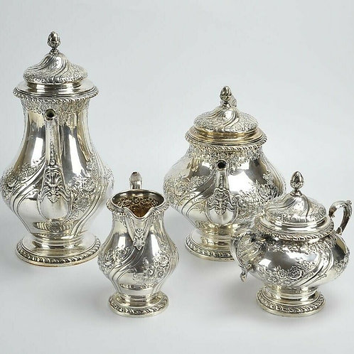 REED & BARTON STERLING SILVER TEA & COFFEE SET HAND CHASED