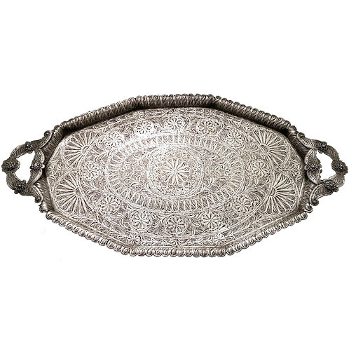 RARE FINE 19TH CENTURY LARGE FILIGREE SILVER TRAY MUSEUM QUALITY!