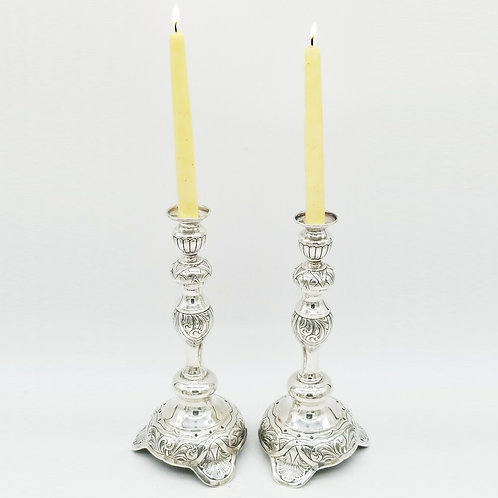 PAIR OF RUSSIAN STYLE STERLING SILVER SHABBAT CANDLESTICKS