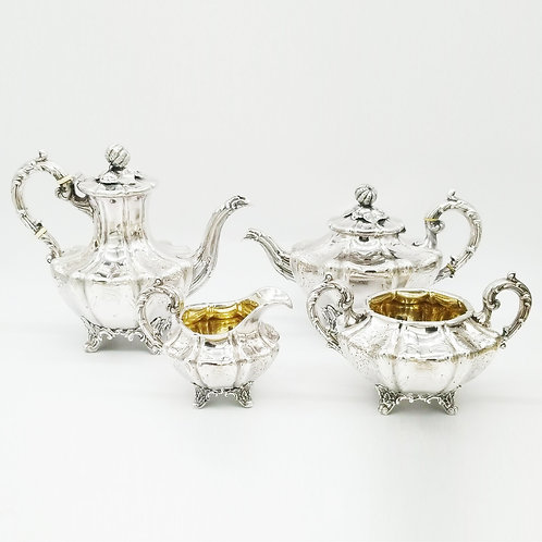VICTORIAN STERLING SILVER FOUR-PIECE COFFEE & TEA SERVICE LONDON CA. 1839