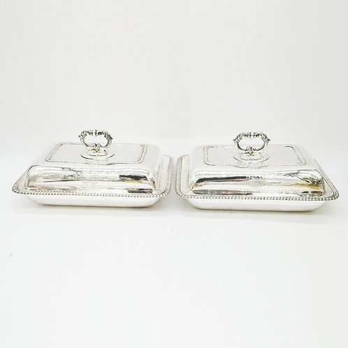 PAIR OF GEORGE IV STERLING SILVER COVERED ENTREE DISHES LONDON 1820