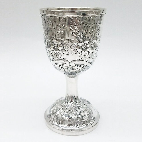 SCHULTZ STERLING SILVER HAND CHASED REPOUSSE LARGE GOBLET