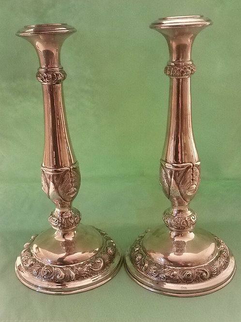 PAIR OF 19TH CENTURY AUSTRIAN SILVER SHABAT CANDLESTICKS JUDAICA