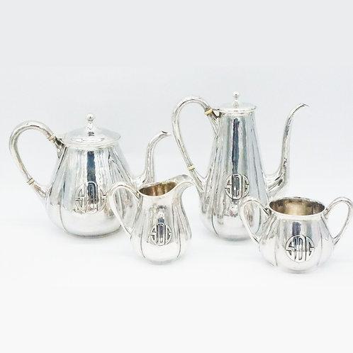 LEBOLT STERLING SILVER ARTS & CRAFTS STYLE HAND HAMMERED TEA SERVICE
