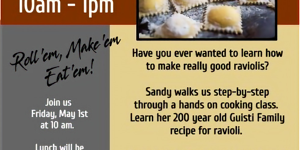 SOLD OUT - Ravioli Making with Sandy Furland