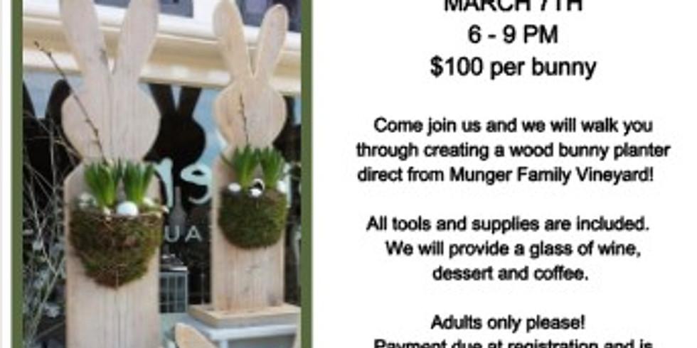 Wood Bunny Planter