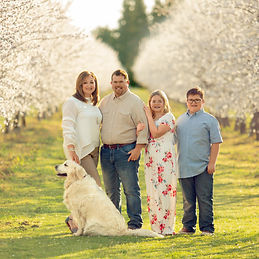6x6 family in almond blossoms with cabby