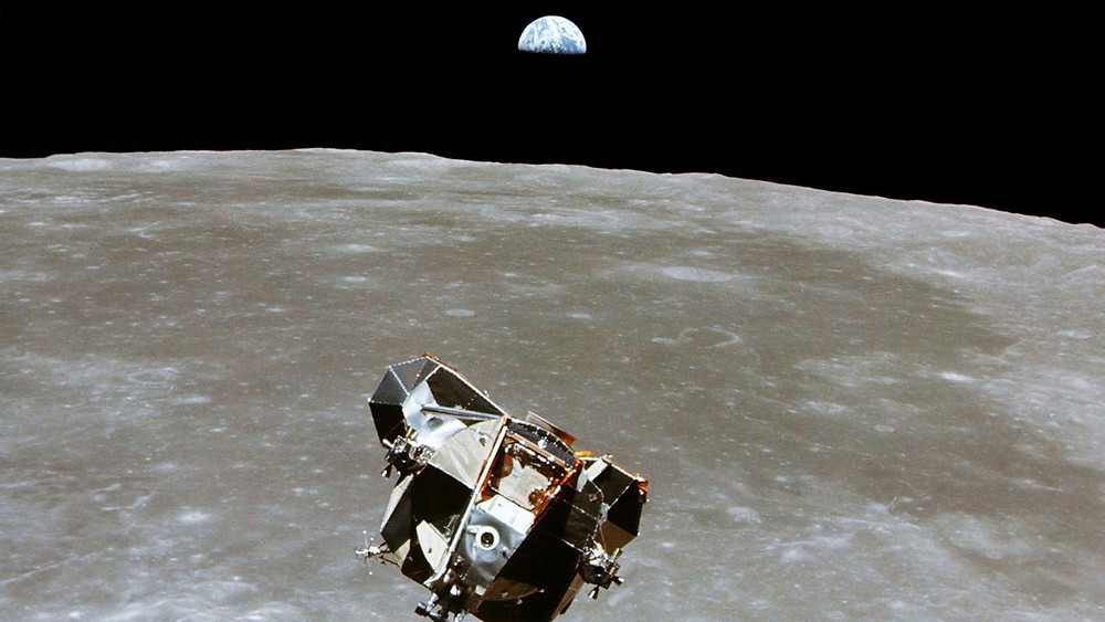 solar eclipse on the moon and a lunar eclipse on the moon. This image is of the Apollo lunar excursion module.