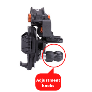 Fine adjustment knobs of the celestron NEXYZ phone mount or adapter for a telescope.