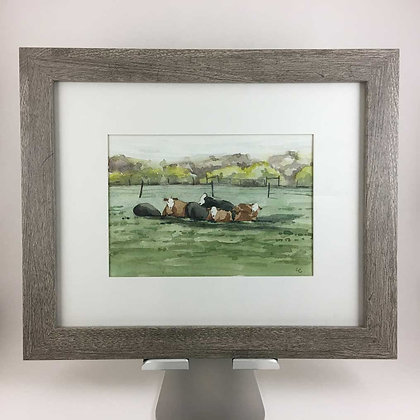 Cow Pile, Original Watercolor