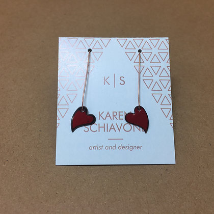 Red Enameled Heart Earrings
