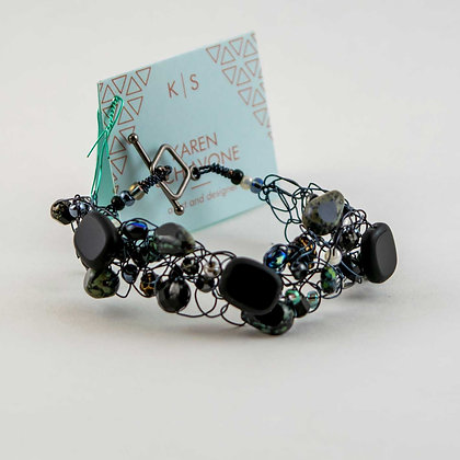 Black and Gray Glass Bead and Copper Bracelet