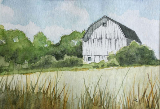 Watercolor Barn Tutorial Digital Download