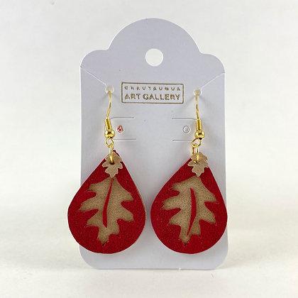 Red Oak Leaf Earrings