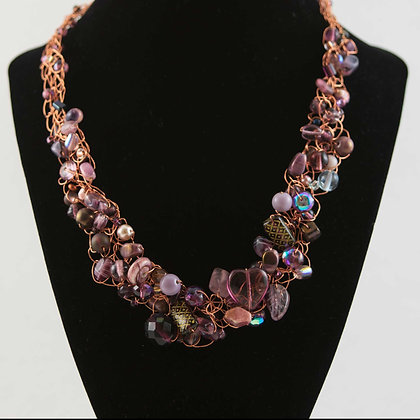 Rose Color Glass and Copper Necklace