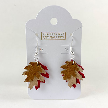 Little Oak Leaf Earrings with Red leaf