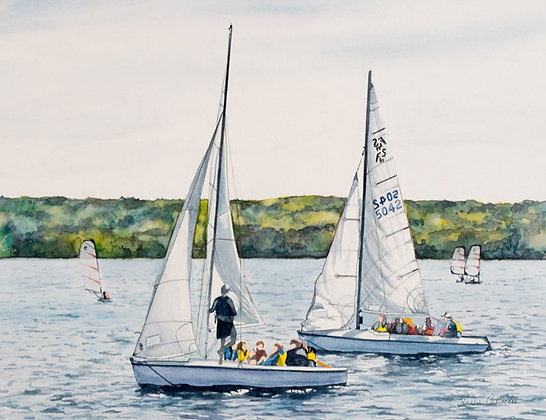 "Print, ""Group Sailing on Chautauqua Lake"""