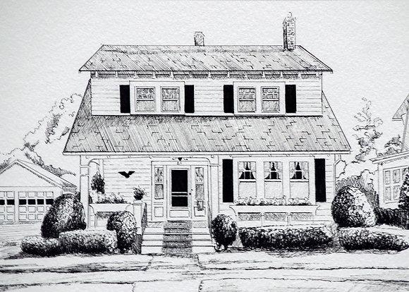 Pen & Ink House Portrait Digital Download