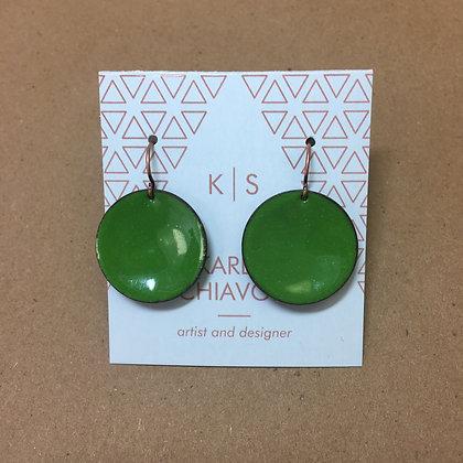 Green Enameled Earrings