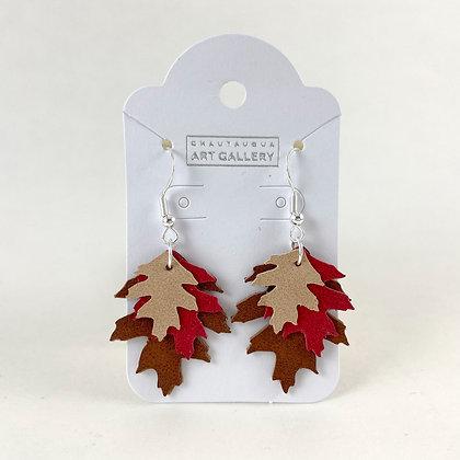 Oak Leaf Earrings with Red Leaf
